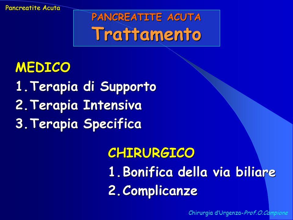 Chirurgia dUrgenza-Prof.O.Campione Pancreatite Acuta PANCREATITE ACUTA Trattamento MEDICO 1.Terapia di Supporto 2.Terapia Intensiva 3.Terapia Specific