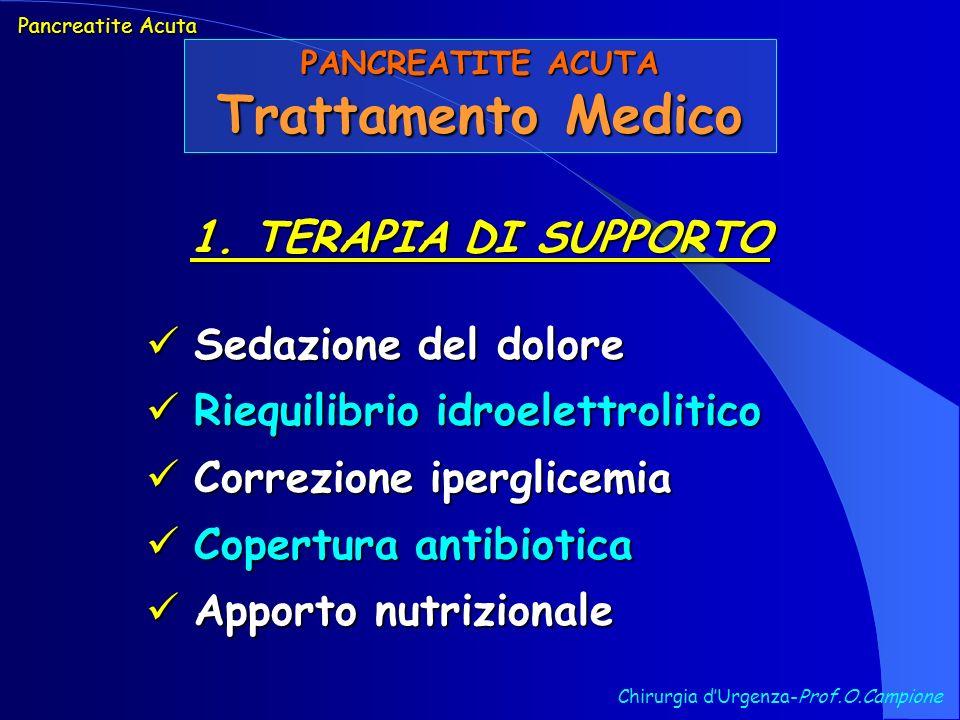 Chirurgia dUrgenza-Prof.O.Campione Pancreatite Acuta PANCREATITE ACUTA Trattamento Medico 1. TERAPIA DI SUPPORTO Sedazione del dolore Sedazione del do