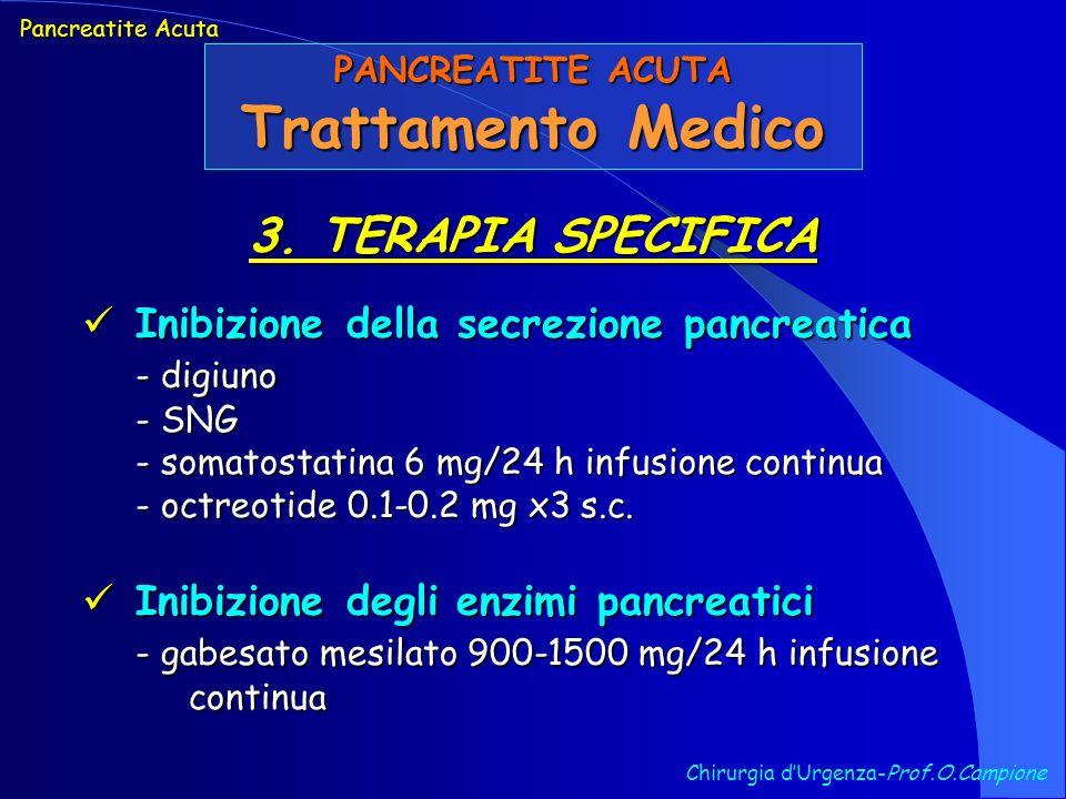 Chirurgia dUrgenza-Prof.O.Campione Pancreatite Acuta PANCREATITE ACUTA Trattamento Medico 3. TERAPIA SPECIFICA Inibizione della secrezione pancreatica