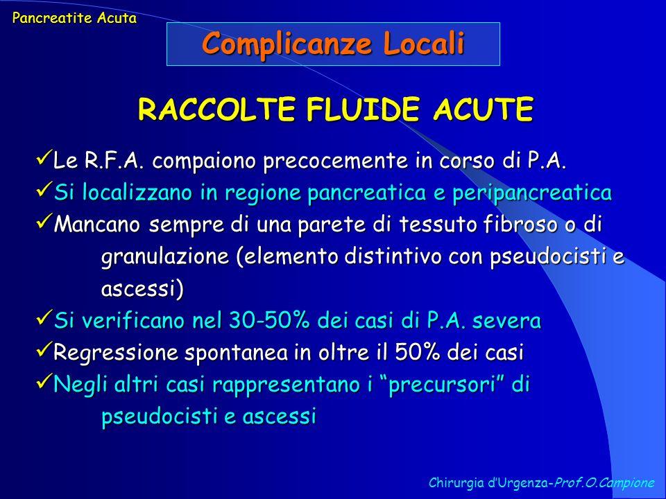 Chirurgia dUrgenza-Prof.O.Campione Pancreatite Acuta Complicanze Locali RACCOLTE FLUIDE ACUTE Le R.F.A. compaiono precocemente in corso di P.A. Le R.F
