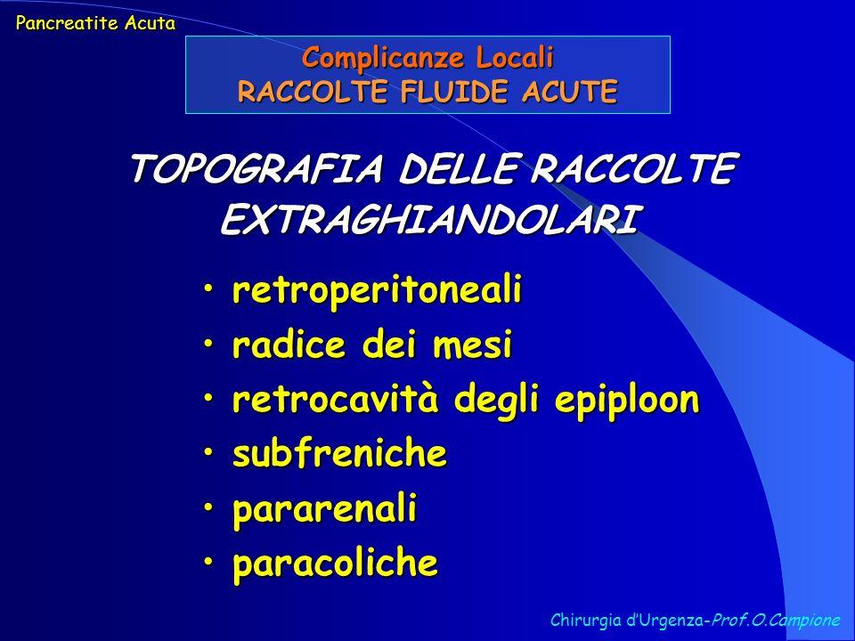 Chirurgia dUrgenza-Prof.O.Campione Pancreatite Acuta Complicanze Locali RACCOLTE FLUIDE ACUTE retroperitoneali retroperitoneali radice dei mesi radice