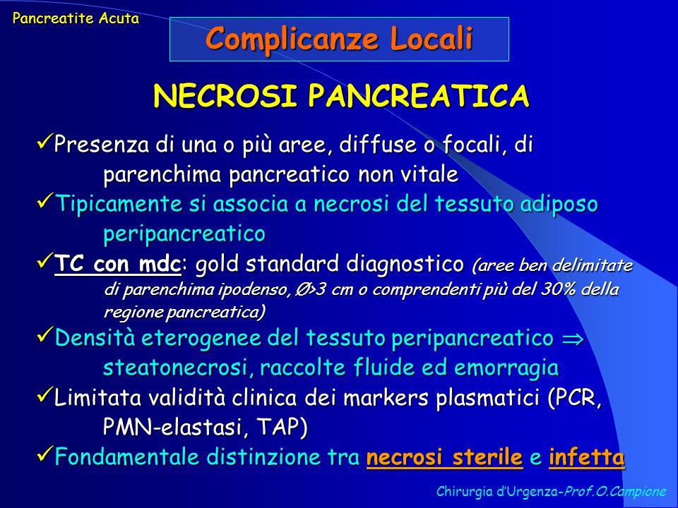 Chirurgia dUrgenza-Prof.O.Campione Pancreatite Acuta Complicanze Locali NECROSI PANCREATICA Presenza di una o più aree, diffuse o focali, di parenchim
