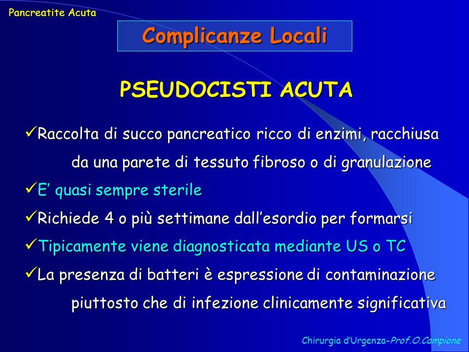 Chirurgia dUrgenza-Prof.O.Campione Pancreatite Acuta Complicanze Locali PSEUDOCISTI ACUTA Raccolta di succo pancreatico ricco di enzimi, racchiusa da