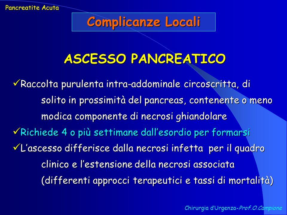 Chirurgia dUrgenza-Prof.O.Campione Pancreatite Acuta Complicanze Locali ASCESSO PANCREATICO Raccolta purulenta intra-addominale circoscritta, di solit
