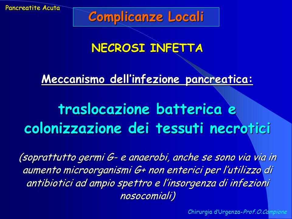 Chirurgia dUrgenza-Prof.O.Campione Pancreatite Acuta Complicanze Locali NECROSI INFETTA Meccanismo dellinfezione pancreatica: traslocazione batterica