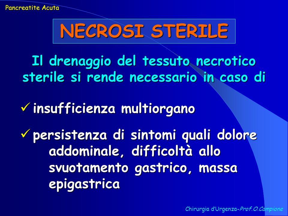 Il drenaggio del tessuto necrotico sterile si rende necessario in caso di insufficienza multiorgano insufficienza multiorgano persistenza di sintomi q