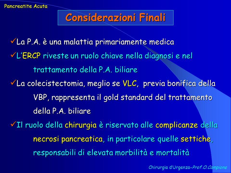 Considerazioni Finali Pancreatite Acuta La P.A. è una malattia primariamente medica La P.A. è una malattia primariamente medica LERCP riveste un ruolo