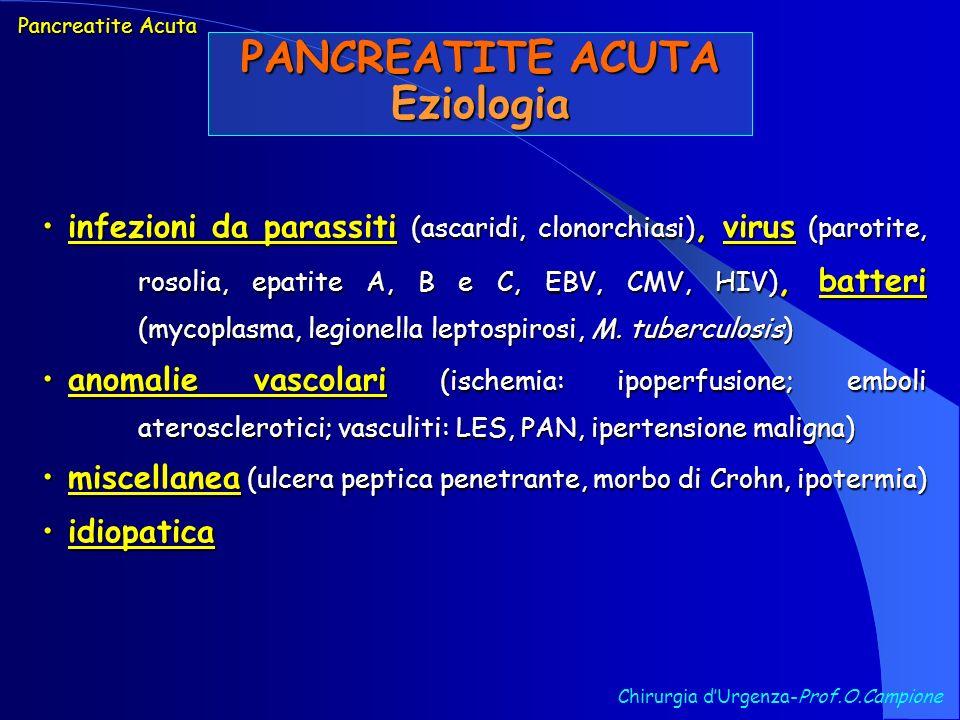 Chirurgia dUrgenza-Prof.O.Campione Pancreatite Acuta PANCREATITE ACUTA Eziologia infezioni da parassiti (ascaridi, clonorchiasi), virus (parotite, ros