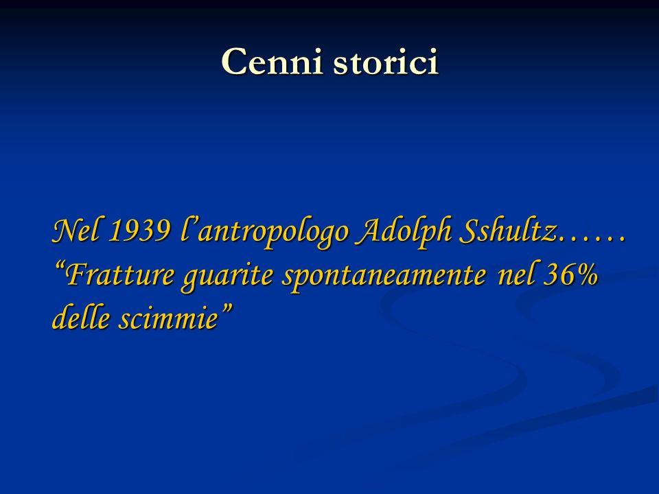 Cenni storici Nel 1939 lantropologo Adolph Sshultz…… Fratture guarite spontaneamente nel 36% delle scimmie Nel 1939 lantropologo Adolph Sshultz…… Frat