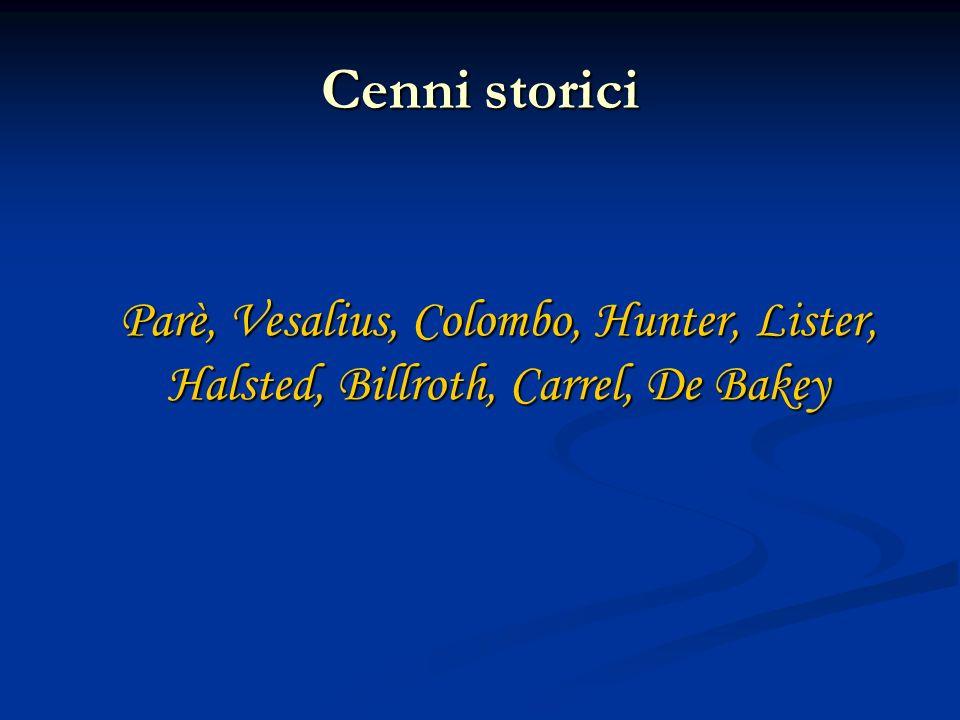 Cenni storici Parè, Vesalius, Colombo, Hunter, Lister, Halsted, Billroth, Carrel, De Bakey Parè, Vesalius, Colombo, Hunter, Lister, Halsted, Billroth,