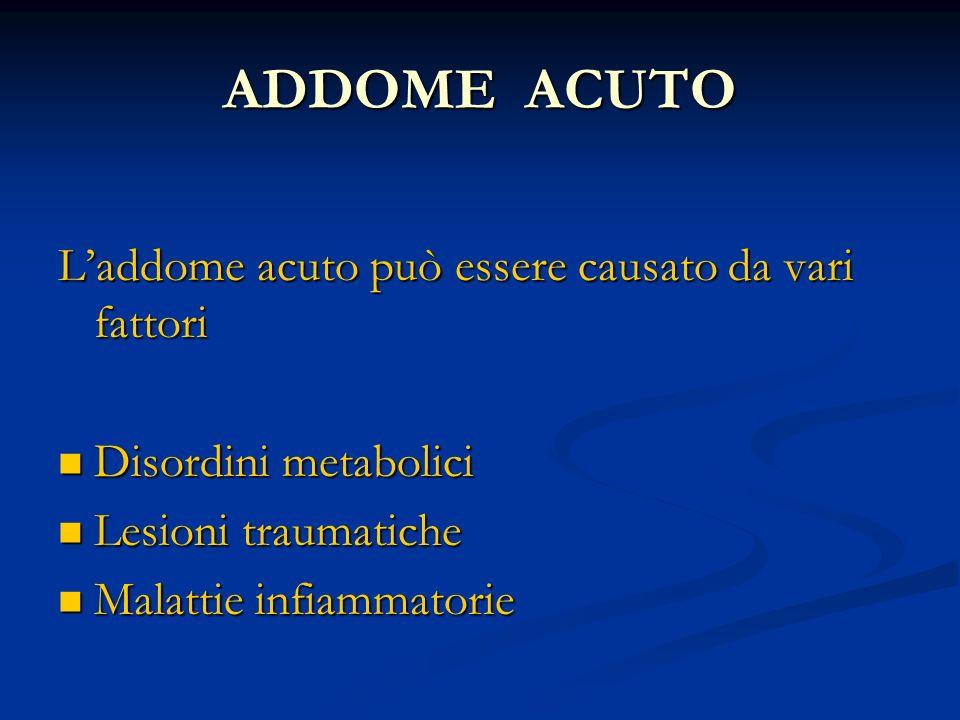 ADDOME ACUTO Laddome acuto può essere causato da vari fattori Disordini metabolici Disordini metabolici Lesioni traumatiche Lesioni traumatiche Malatt