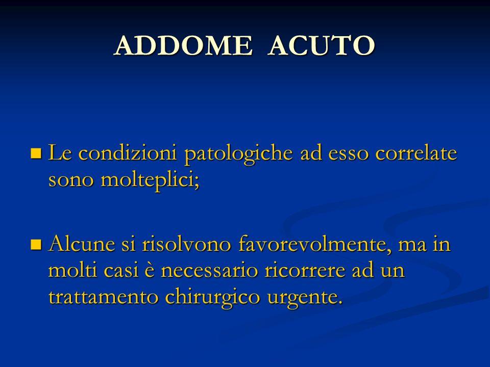 ADDOME ACUTO Le condizioni patologiche ad esso correlate sono molteplici; Le condizioni patologiche ad esso correlate sono molteplici; Alcune si risol