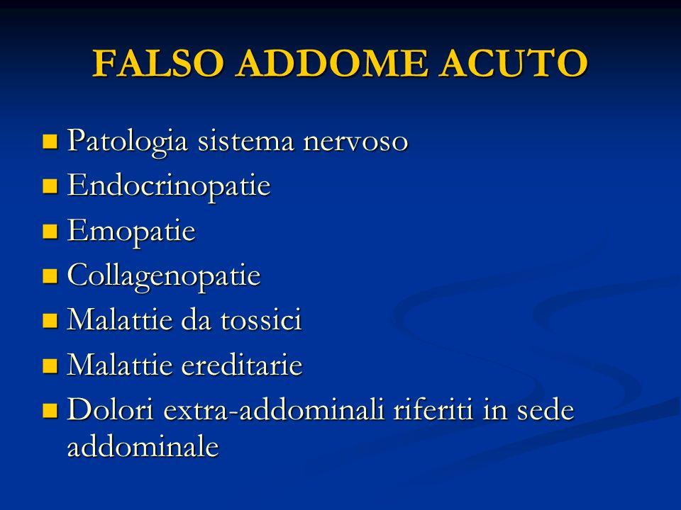 FALSO ADDOME ACUTO Patologia sistema nervoso Patologia sistema nervoso Endocrinopatie Endocrinopatie Emopatie Emopatie Collagenopatie Collagenopatie M