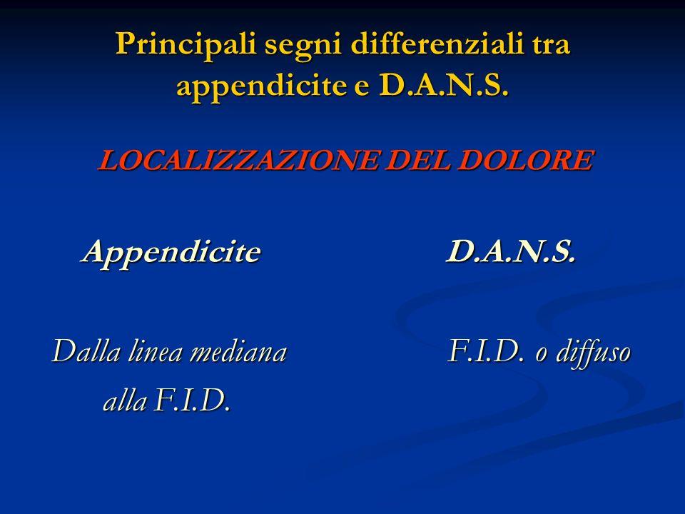 Principali segni differenziali tra appendicite e D.A.N.S. LOCALIZZAZIONE DEL DOLORE Appendicite D.A.N.S. Appendicite D.A.N.S. Dalla linea mediana F.I.