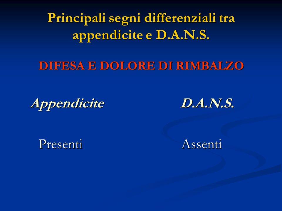 Principali segni differenziali tra appendicite e D.A.N.S. DIFESA E DOLORE DI RIMBALZO Appendicite D.A.N.S. Appendicite D.A.N.S. Presenti Assenti Prese