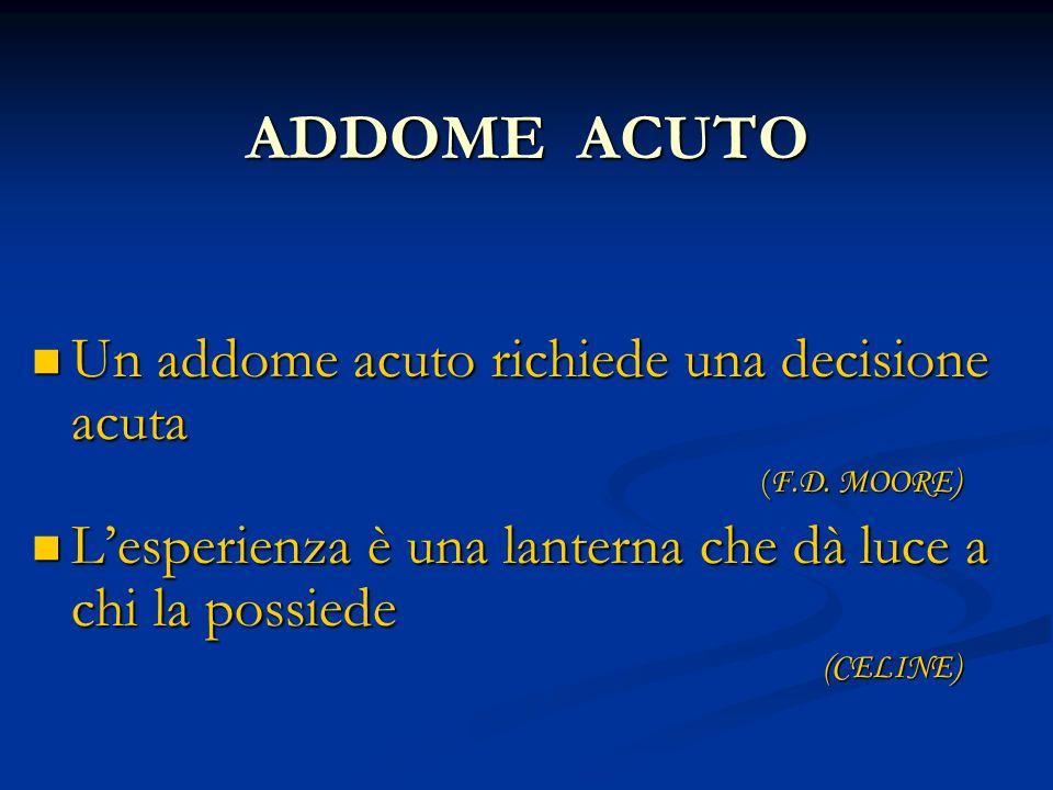 ADDOME ACUTO Un addome acuto richiede una decisione acuta Un addome acuto richiede una decisione acuta ( F.D. MOORE) ( F.D. MOORE) Lesperienza è una l