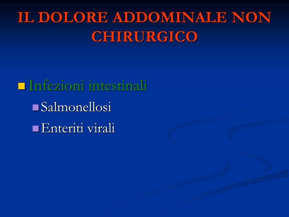IL DOLORE ADDOMINALE NON CHIRURGICO Infezioni intestinali Infezioni intestinali Salmonellosi Salmonellosi Enteriti virali Enteriti virali