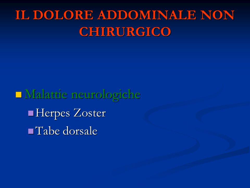IL DOLORE ADDOMINALE NON CHIRURGICO Malattie neurologiche Malattie neurologiche Herpes Zoster Herpes Zoster Tabe dorsale Tabe dorsale