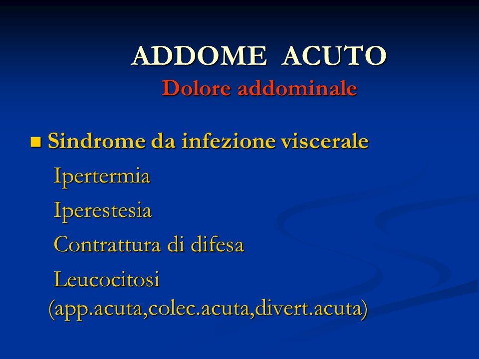 ADDOME ACUTO Dolore addominale Sindrome da infezione viscerale Sindrome da infezione viscerale Ipertermia Ipertermia Iperestesia Iperestesia Contrattu