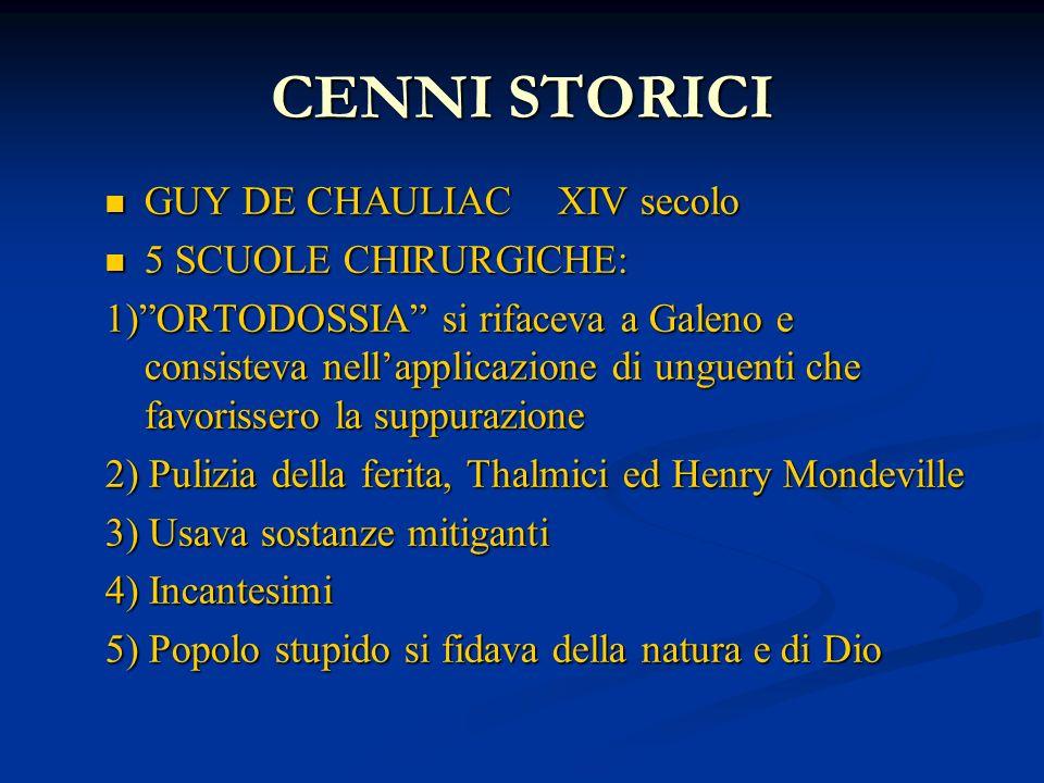 CENNI STORICI GUY DE CHAULIAC XIV secolo GUY DE CHAULIAC XIV secolo 5 SCUOLE CHIRURGICHE: 5 SCUOLE CHIRURGICHE: 1)ORTODOSSIA si rifaceva a Galeno e co