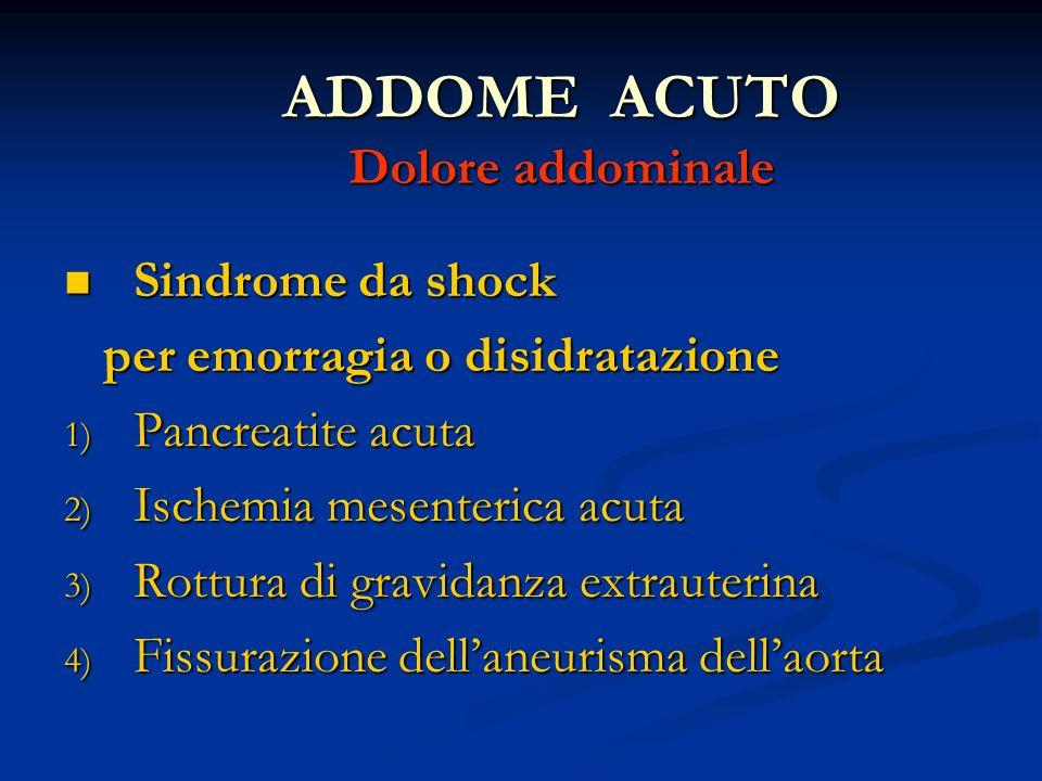 ADDOME ACUTO Dolore addominale Sindrome da shock Sindrome da shock per emorragia o disidratazione per emorragia o disidratazione 1) Pancreatite acuta