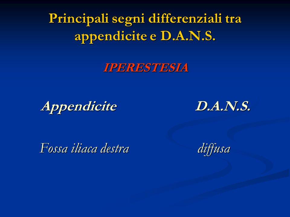 Principali segni differenziali tra appendicite e D.A.N.S. IPERESTESIA Appendicite D.A.N.S. Fossa iliaca destra diffusa Fossa iliaca destra diffusa
