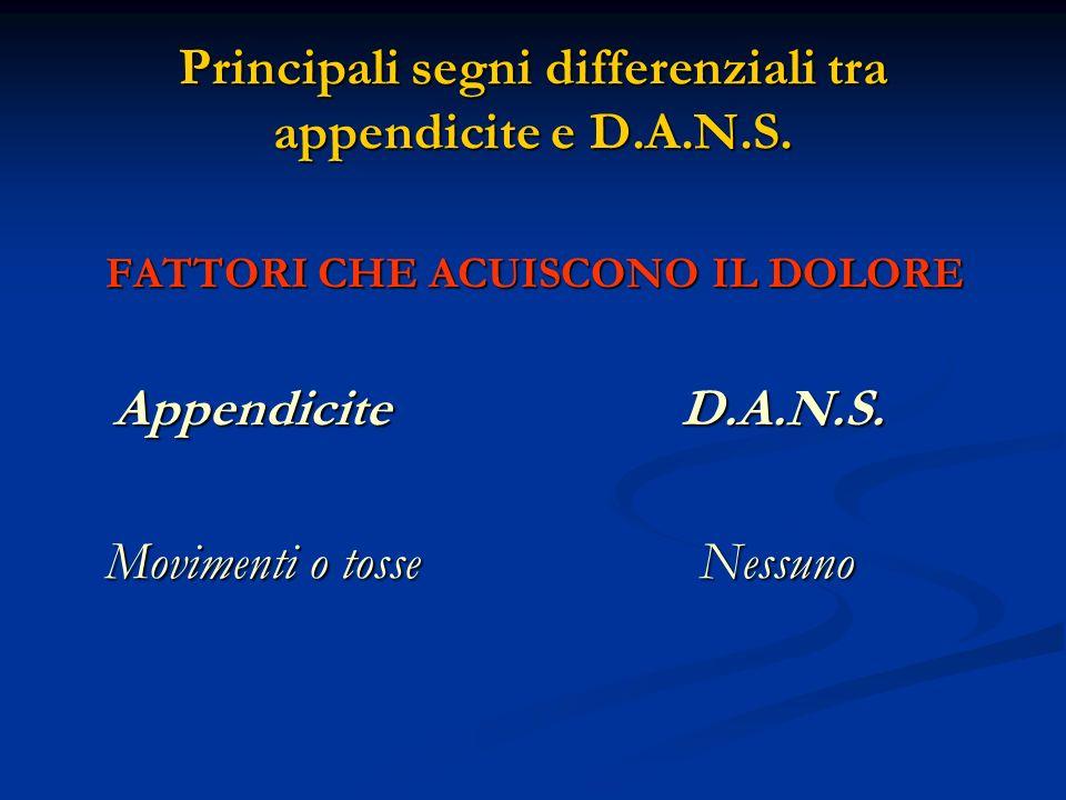 Principali segni differenziali tra appendicite e D.A.N.S. FATTORI CHE ACUISCONO IL DOLORE Appendicite D.A.N.S. Appendicite D.A.N.S. Movimenti o tosse