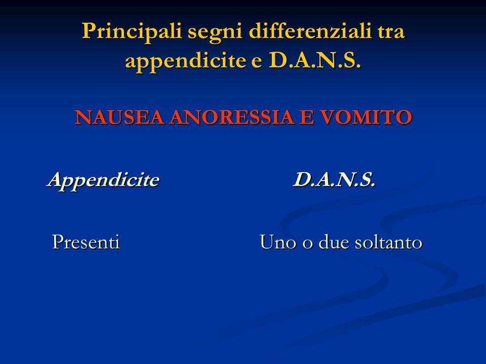 Principali segni differenziali tra appendicite e D.A.N.S. NAUSEA ANORESSIA E VOMITO Appendicite D.A.N.S. Appendicite D.A.N.S. Presenti Uno o due solta