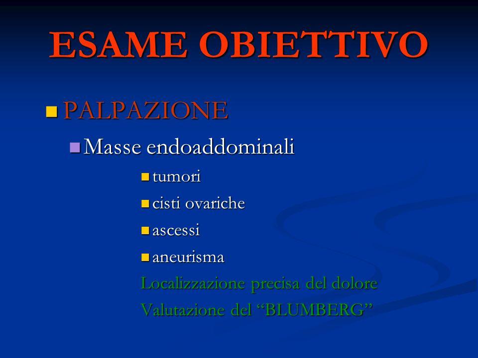 ESAME OBIETTIVO PALPAZIONE PALPAZIONE Masse endoaddominali Masse endoaddominali tumori tumori cisti ovariche cisti ovariche ascessi ascessi aneurisma