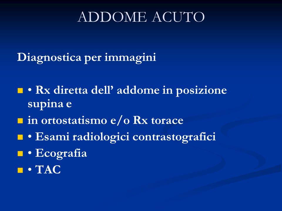 ADDOME ACUTO Diagnostica per immagini Rx diretta dell addome in posizione supina e in ortostatismo e/o Rx torace Esami radiologici contrastografici Ec
