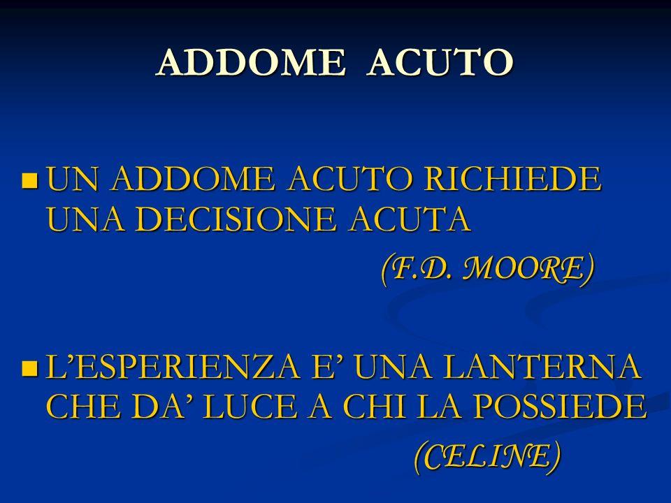 ADDOME ACUTO UN ADDOME ACUTO RICHIEDE UNA DECISIONE ACUTA UN ADDOME ACUTO RICHIEDE UNA DECISIONE ACUTA (F.D. MOORE) (F.D. MOORE) LESPERIENZA E UNA LAN
