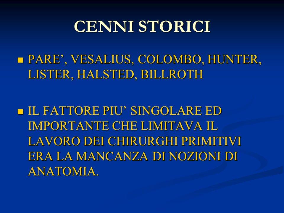 CENNI STORICI PARE, VESALIUS, COLOMBO, HUNTER, LISTER, HALSTED, BILLROTH PARE, VESALIUS, COLOMBO, HUNTER, LISTER, HALSTED, BILLROTH IL FATTORE PIU SIN