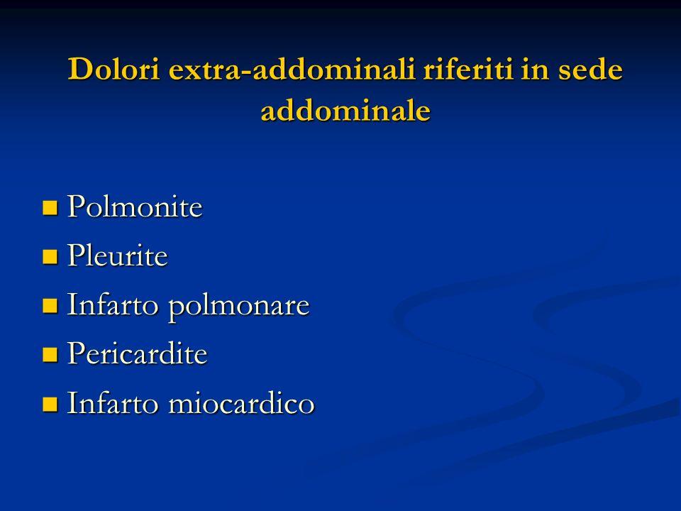 Dolori extra-addominali riferiti in sede addominale Polmonite Polmonite Pleurite Pleurite Infarto polmonare Infarto polmonare Pericardite Pericardite Infarto miocardico Infarto miocardico