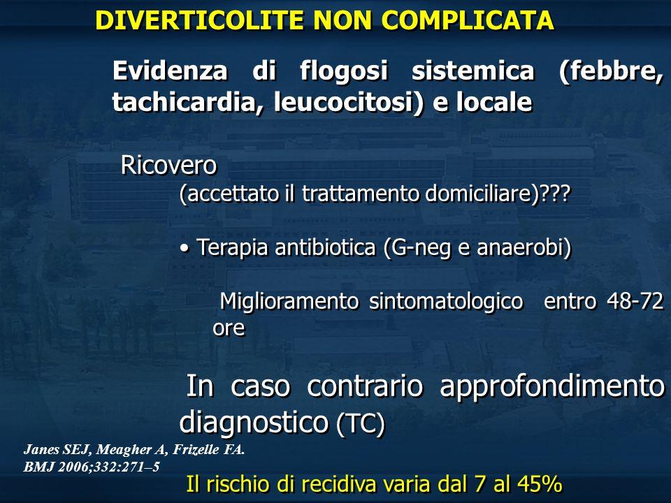 Evidenza di flogosi sistemica (febbre, tachicardia, leucocitosi) e locale Ricovero (accettato il trattamento domiciliare)??? Terapia antibiotica (G-ne