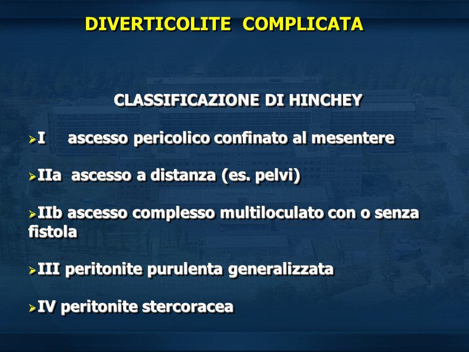 CLASSIFICAZIONE DI HINCHEY I ascesso pericolico confinato al mesentere I ascesso pericolico confinato al mesentere IIa ascesso a distanza (es. pelvi)