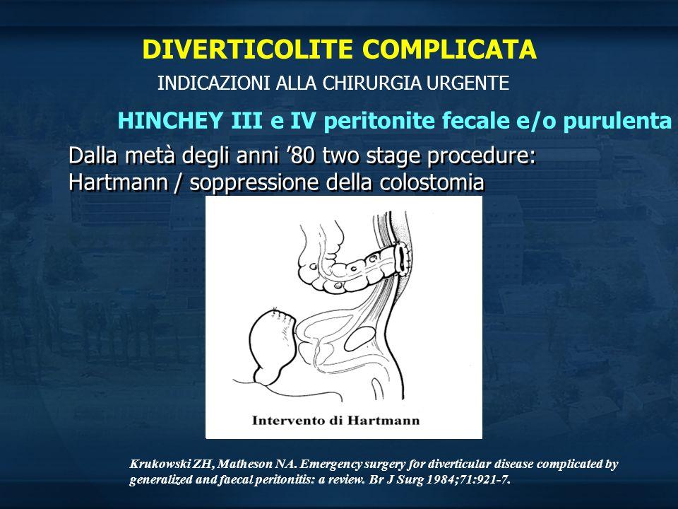 INDICAZIONI ALLA CHIRURGIA URGENTE HINCHEY III e IV peritonite fecale e/o purulenta Dalla metà degli anni 80 two stage procedure: Hartmann / soppressi