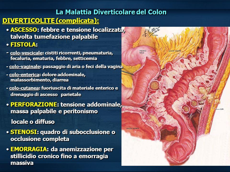 MALATTIA DIVERTICOLARE ASPETTI CHIRURGICI TEORICI E TECNICI Indicazioni alla SORVEGLIANZA chirurgica Attacchi frequenti Presenza di fistole/ascessi Sub-occlusione intestinale sintomatica Sintomi urinari persistenti( rischio di fistola colo-vescicale) Primo episodio molto grave in paziente giovane <50 anni Indicazioni alla SORVEGLIANZA chirurgica Attacchi frequenti Presenza di fistole/ascessi Sub-occlusione intestinale sintomatica Sintomi urinari persistenti( rischio di fistola colo-vescicale) Primo episodio molto grave in paziente giovane <50 anni