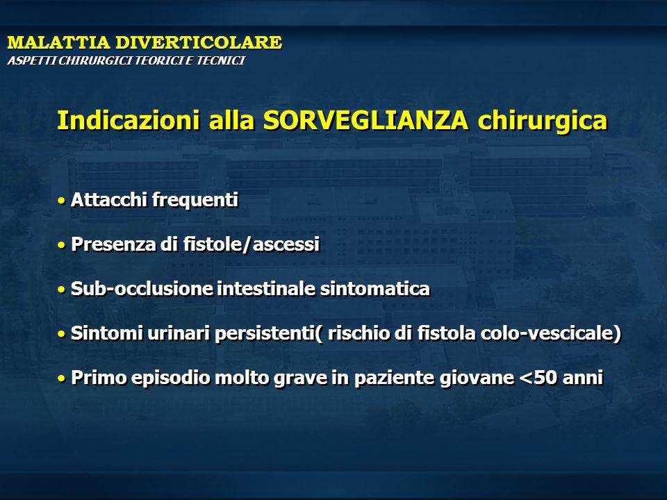 INDICAZIONI ALLA CHIRURGIA URGENTE MALATTIA DIVERTICOLARE Sepsi Fistola Occlusione