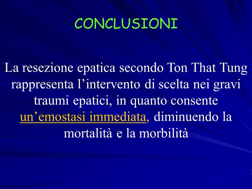 CONCLUSIONI La resezione epatica secondo Ton That Tung rappresenta lintervento di scelta nei gravi traumi epatici, in quanto consente unemostasi immed