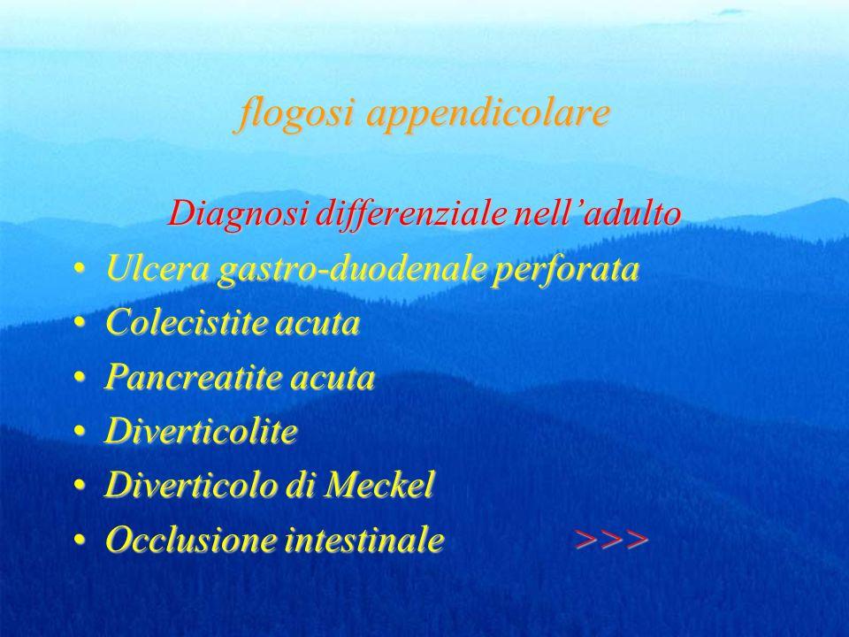 flogosi appendicolare Diagnosi differenziale nelladulto Ulcera gastro-duodenale perforataUlcera gastro-duodenale perforata Colecistite acutaColecistite acuta Pancreatite acutaPancreatite acuta DiverticoliteDiverticolite Diverticolo di MeckelDiverticolo di Meckel Occlusione intestinale >>>Occlusione intestinale >>>