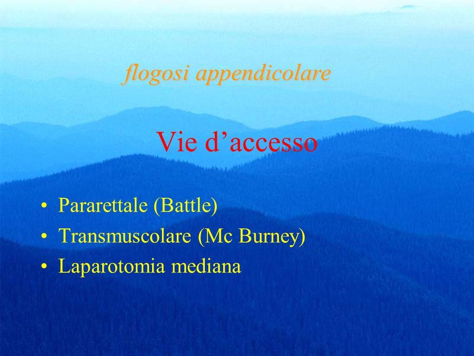 Vie daccesso Pararettale (Battle) Transmuscolare (Mc Burney) Laparotomia mediana flogosi appendicolare