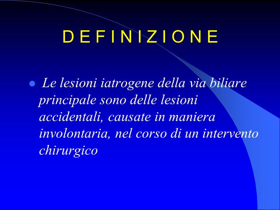 D E F I N I Z I O N E Le lesioni iatrogene della via biliare principale sono delle lesioni accidentali, causate in maniera involontaria, nel corso di un intervento chirurgico