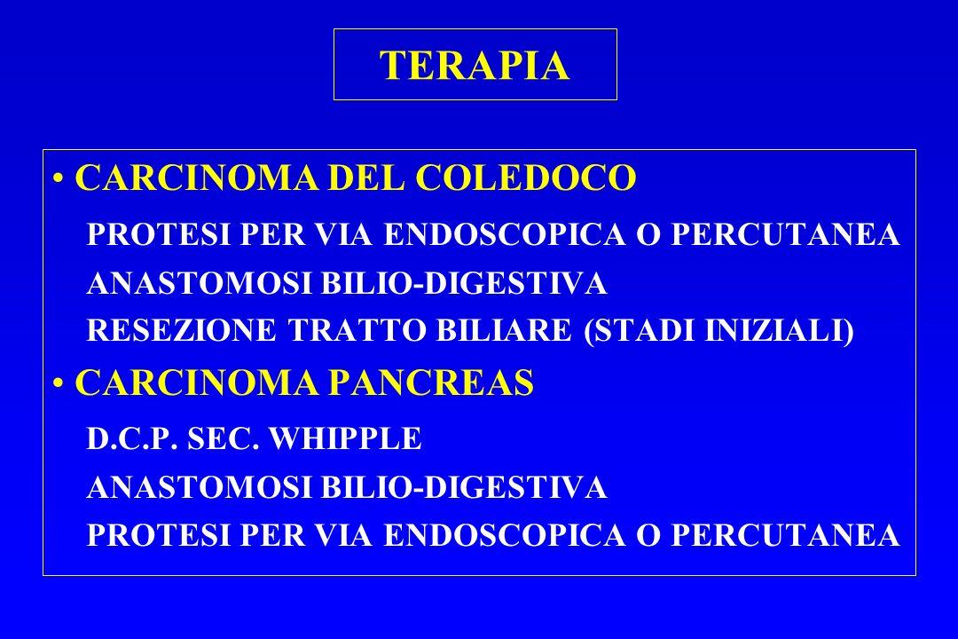 TERAPIA CARCINOMA DEL COLEDOCO PROTESI PER VIA ENDOSCOPICA O PERCUTANEA ANASTOMOSI BILIO-DIGESTIVA RESEZIONE TRATTO BILIARE (STADI INIZIALI) CARCINOMA