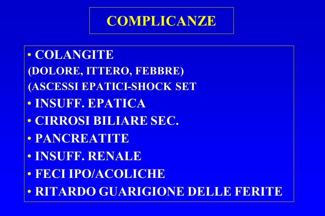COMPLICANZE COLANGITE (DOLORE, ITTERO, FEBBRE) (ASCESSI EPATICI-SHOCK SET INSUFF. EPATICA CIRROSI BILIARE SEC. PANCREATITE INSUFF. RENALE FECI IPO/ACO
