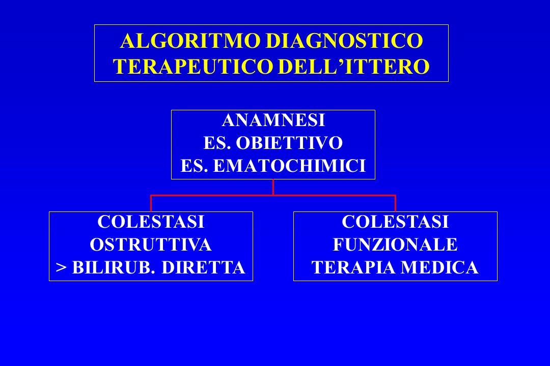 ALGORITMO DIAGNOSTICO TERAPEUTICO DELLITTERO ANAMNESI ES. OBIETTIVO ES. EMATOCHIMICI COLESTASI OSTRUTTIVA > BILIRUB. DIRETTA COLESTASI FUNZIONALE TERA