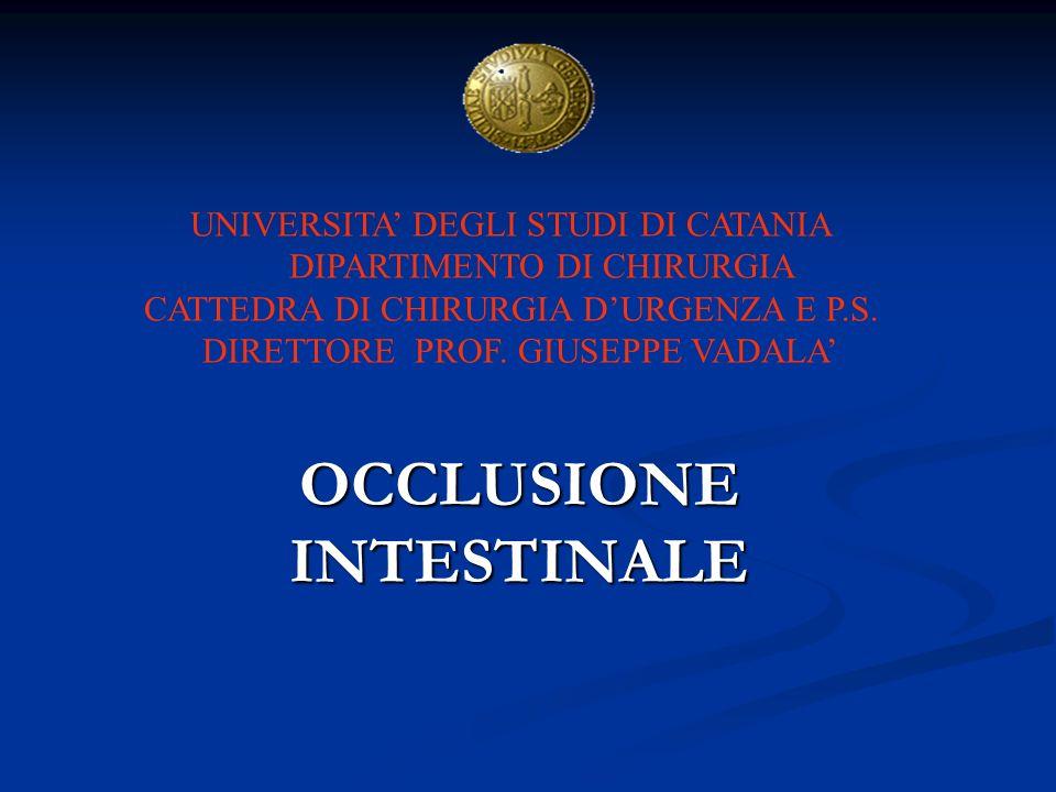 OCCLUSIONE INTESTINALE UNIVERSITA DEGLI STUDI DI CATANIA DIPARTIMENTO DI CHIRURGIA CATTEDRA DI CHIRURGIA DURGENZA E P.S. DIRETTORE PROF. GIUSEPPE VADA
