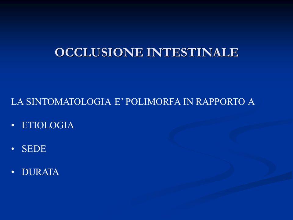 OCCLUSIONE INTESTINALE LA SINTOMATOLOGIA E POLIMORFA IN RAPPORTO A ETIOLOGIA SEDE DURATA