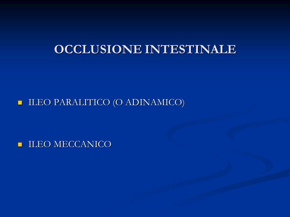 OCCLUSIONE INTESTINALE ILEO PARALITICO (O ADINAMICO) ILEO PARALITICO (O ADINAMICO) ILEO MECCANICO ILEO MECCANICO