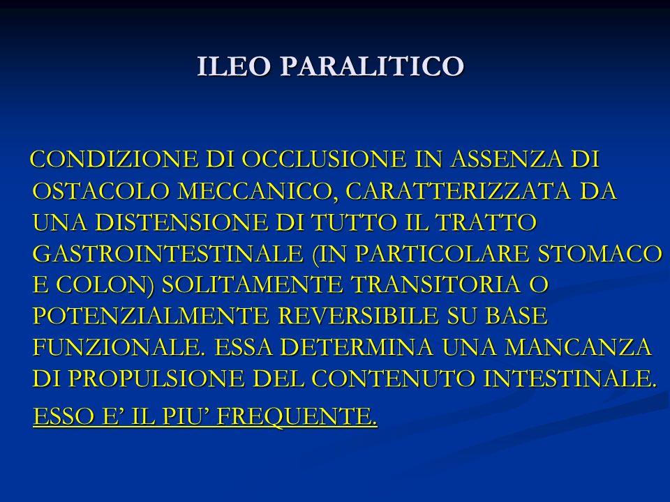 ILEO PARALITICO CONDIZIONE DI OCCLUSIONE IN ASSENZA DI OSTACOLO MECCANICO, CARATTERIZZATA DA UNA DISTENSIONE DI TUTTO IL TRATTO GASTROINTESTINALE (IN