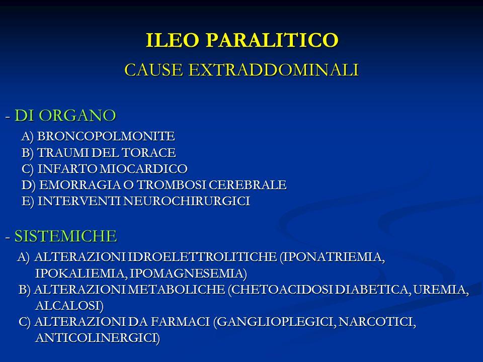 ILEO PARALITICO CAUSE EXTRADDOMINALI - DI ORGANO A) BRONCOPOLMONITE A) BRONCOPOLMONITE B) TRAUMI DEL TORACE B) TRAUMI DEL TORACE C) INFARTO MIOCARDICO